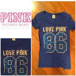 "Pink Victoria's Secret blue ""love pink 86"" sequin"
